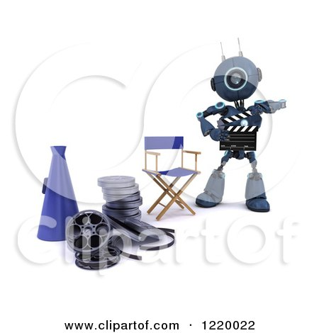 Clipart of a 3d Blue Android Robot Movie Director - Royalty Free Illustration by KJ Pargeter