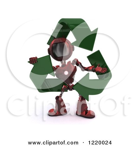 Clipart of a 3d Red Android Robot with Recycle Arrows - Royalty Free Illustration by KJ Pargeter