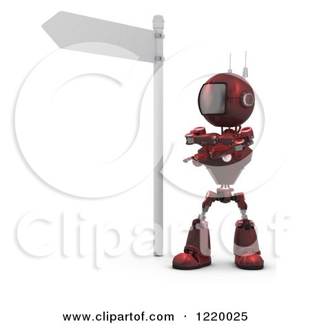 Clipart of a 3d Red Android Robot Pondering Under a Street Sign - Royalty Free Illustration by KJ Pargeter