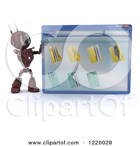 Clipart of a 3d Red Android Robot Pointing to a Computer File Window - Royalty Free Illustration by KJ Pargeter