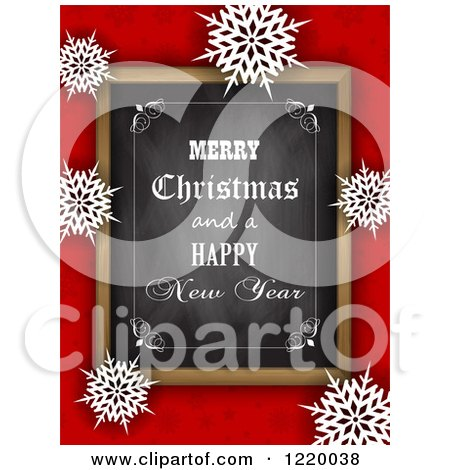 Clipart of a Merry Christmas and a Happy New Year Greeting Chalk Board over Red with Snowflakes - Royalty Free Vector Illustration by KJ Pargeter