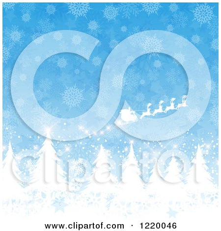 Clipart of Santas Sleigh Flying over Evergreen Trees Against Snowflakes on Blue - Royalty Free Vector Illustration by KJ Pargeter
