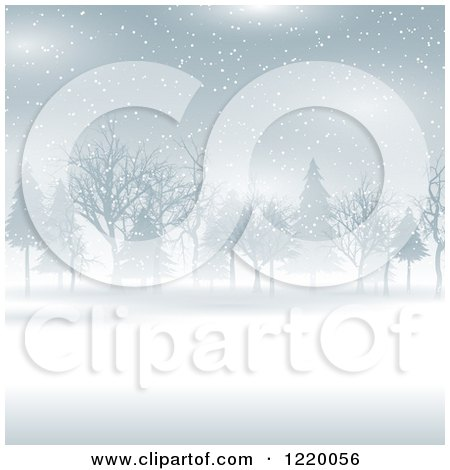 Clipart of a Foggy Winter Landscape with Trees - Royalty Free Vector Illustration by KJ Pargeter