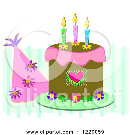 Clipart of a Party Hat and Birthday Cake with Three Candles - Royalty Free Vector Illustration by bpearth