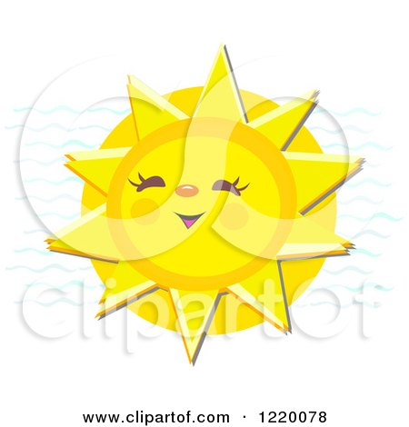 Clipart of a Cheerful Laughing Sun - Royalty Free Vector Illustration by bpearth