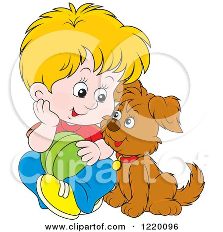 Clipart of a Blond Boy and Puppy Playing with a Ball - Royalty Free Vector Illustration by Alex Bannykh