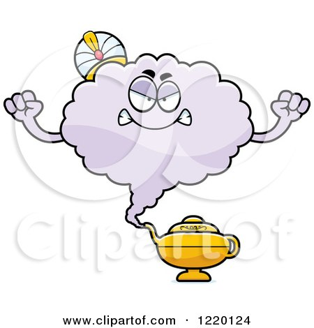 Clipart of a Mad Magic Genie Mascot - Royalty Free Vector Illustration by Cory Thoman