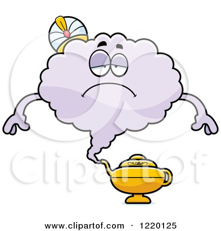 Clipart of a Depressed Magic Genie Mascot - Royalty Free Vector Illustration by Cory Thoman