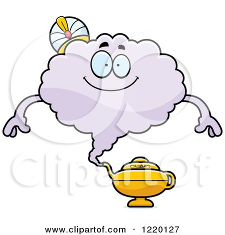 Clipart of a Happy Magic Genie Mascot - Royalty Free Vector Illustration by Cory Thoman