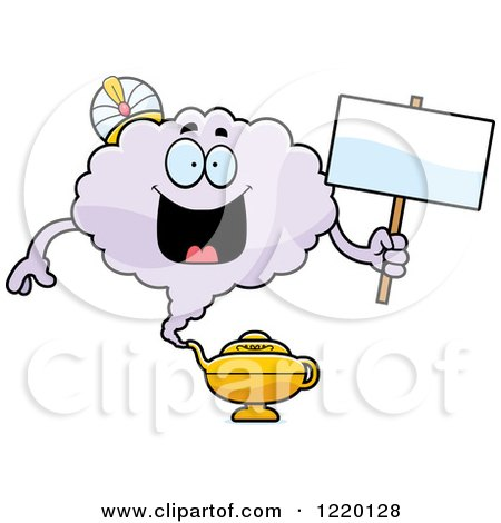 Clipart of a Happy Magic Genie Mascot Holding a Sign - Royalty Free Vector Illustration by Cory Thoman