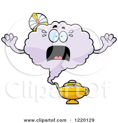 Clipart of a Scared Magic Genie Mascot - Royalty Free Vector Illustration by Cory Thoman