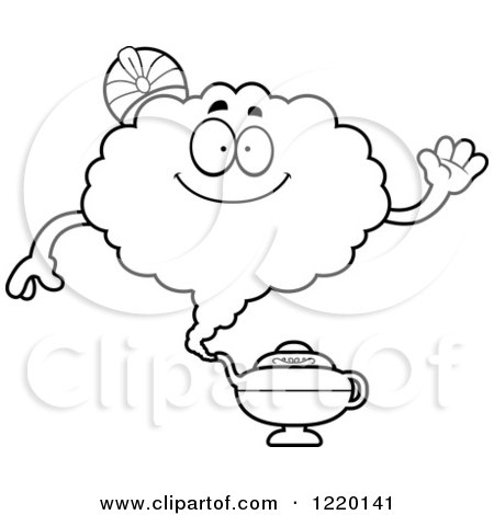 Clipart of a Black and White Friendly Waving Magic Genie Mascot - Royalty Free Vector Illustration by Cory Thoman