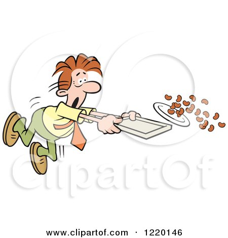 Clipart of a Businessman Spilling the Beans in a Cafeteria - Royalty Free Vector Illustration by Johnny Sajem