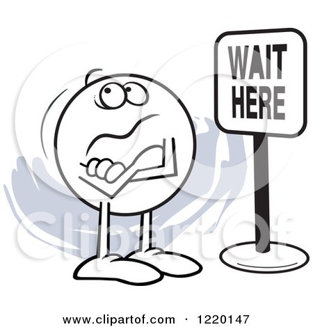 Clipart of a Moodie Character in Front of a Wait Here Sign - Royalty Free Vector Illustration by Johnny Sajem