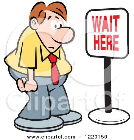 Clipart of a Defeated Businessman in Front of a Wait Here Sign - Royalty Free Vector Illustration by Johnny Sajem