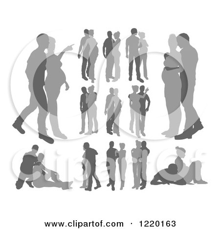 Clipart of Grayscale Pregnant Couple Silhouettes - Royalty Free Vector Illustration by AtStockIllustration