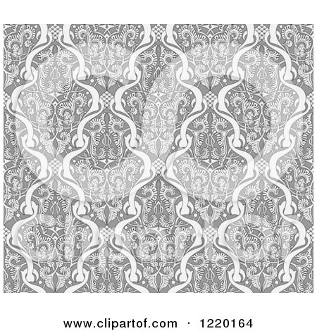 Clipart of a Grayscale Seamless Middle Eastern Pattern 2 - Royalty Free Vector Illustration by AtStockIllustration