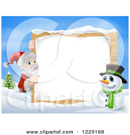 Santa Claus And Snowman Clipart of a Snowman And Santa