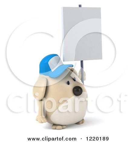 Clipart of a 3d Chubby Dog Wearing a Baseball Cap and Holding a Sign - Royalty Free Illustration by Julos