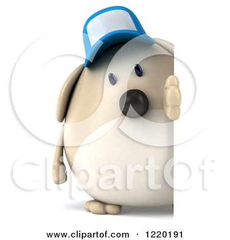 Clipart of a 3d Chubby Dog Wearing a Baseball Cap and Looking Around a Sign - Royalty Free Illustration by Julos