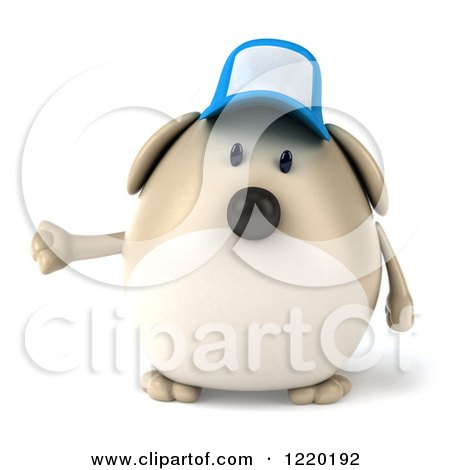 Clipart of a 3d Chubby Dog Wearing a Baseball Cap and Presenting - Royalty Free Illustration by Julos