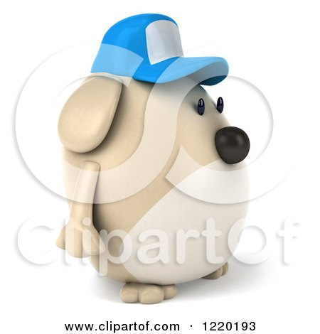 Clipart of a 3d Chubby Dog Wearing a Baseball Cap and Facing Right - Royalty Free Illustration by Julos