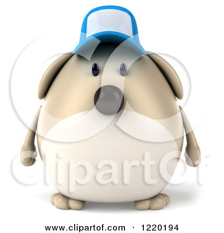 Clipart of a 3d Chubby Dog Wearing a Baseball Cap - Royalty Free Illustration by Julos