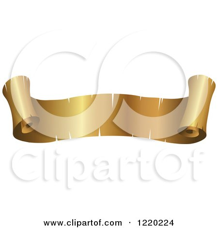 Clipart of a Vintage Golden Banner Scroll 3 - Royalty Free Vector Illustration by cidepix
