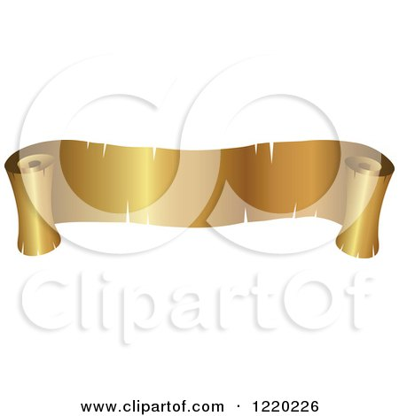 Clipart of a Vintage Golden Banner Scroll - Royalty Free Vector Illustration by cidepix