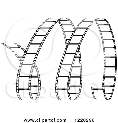 Clipart of a Curles of Black and White Film Strip - Royalty Free Vector Illustration by cidepix