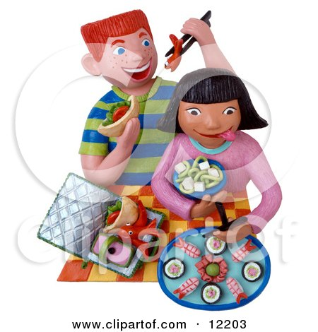 Clay Sculpture Clipart Kids Eating Sushi For Lunch  - Royalty Free 3d Illustration  by Amy Vangsgard