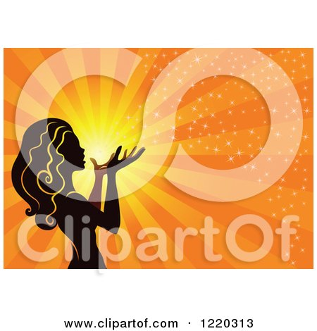 Clipart of a Silhouetted Fairy with Magical Light and Rays on Orange - Royalty Free Vector Illustration by cidepix