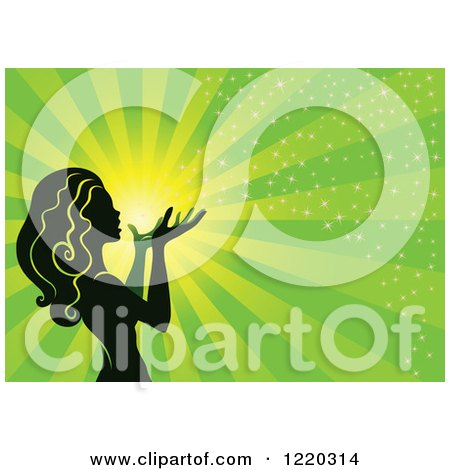 Clipart of a Silhouetted Fairy with Magical Light and Rays on Green - Royalty Free Vector Illustration by cidepix