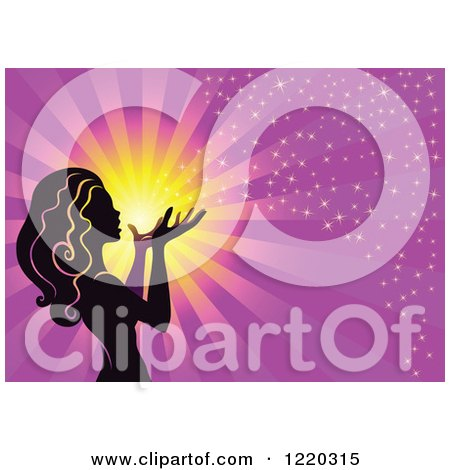 Clipart of a Silhouetted Fairy with Magical Light and Rays on Purple - Royalty Free Vector Illustration by cidepix