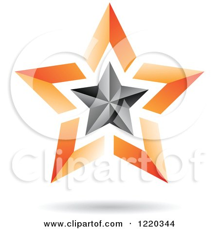 Clipart of a Floating 3d Black and Orange Star Icon - Royalty Free Vector Illustration by cidepix