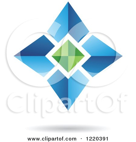 Clipart of a 3d Green and Blue Star Icon - Royalty Free Vector Illustration by cidepix