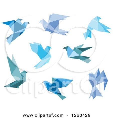 Clipart of Bue Origami Birds - Royalty Free Vector Illustration by Vector Tradition SM