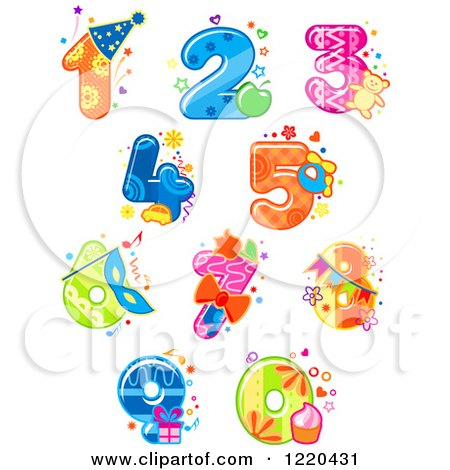 Clipart of Festive Party Numbers - Royalty Free Vector Illustration by Vector Tradition SM