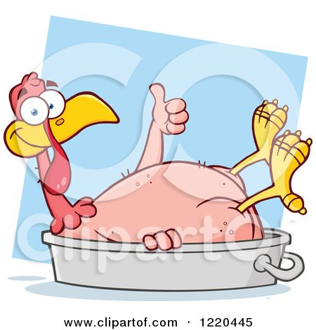 Featherless Thanksgiving Turkey Bird Holding a Thumb up in a Pan, over Blue Posters, Art Prints