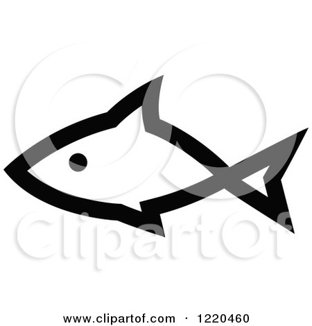 Clipart of a Black and White Fish 3 - Royalty Free Vector Illustration by cidepix