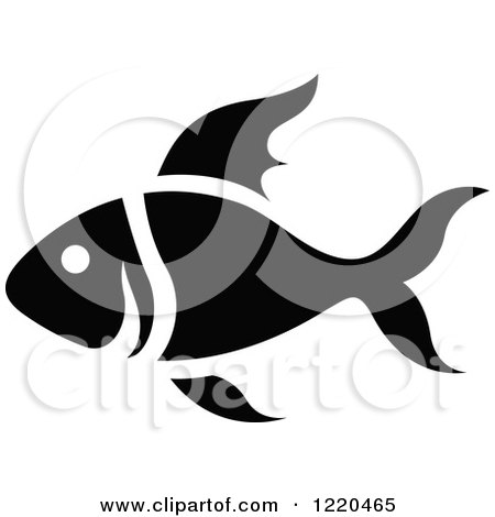 Clipart of a Black and White Fish - Royalty Free Vector Illustration by cidepix
