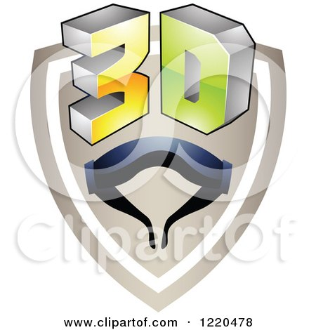 Clipart of a 3d Icon Shield with Glasses 2 - Royalty Free Vector Illustration by cidepix