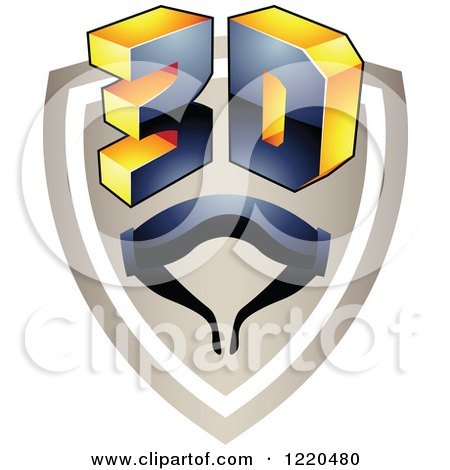 Clipart of a 3d Icon Shield with Glasses 4 - Royalty Free Vector Illustration by cidepix
