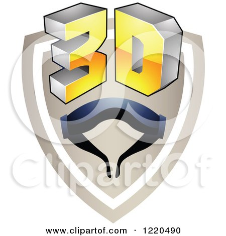Clipart of a 3d Icon Shield with Glasses 3 - Royalty Free Vector Illustration by cidepix