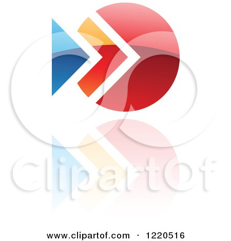 Clipart of a Colorful Abstract Icon with a Reflection 5 - Royalty Free Vector Illustration by cidepix