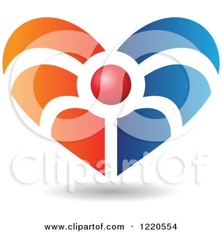 Clipart of a Floating Red Blue and Orange Heart Icon - Royalty Free Vector Illustration by cidepix