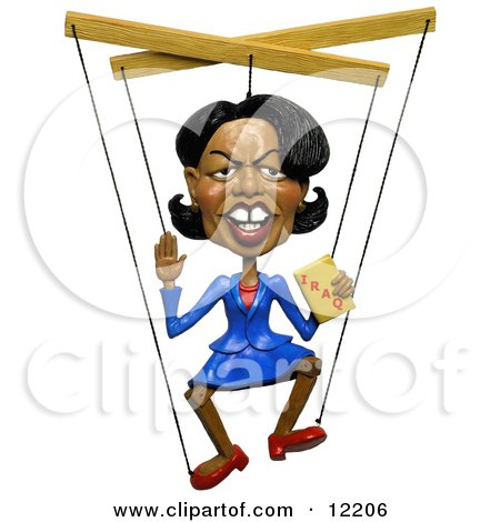 Clay Sculpture Clipart Condoleezza Rice Holding A Book On Iraq And Attached To Marionette Puppet Strings - Royalty Free 3d Illustration  by Amy Vangsgard