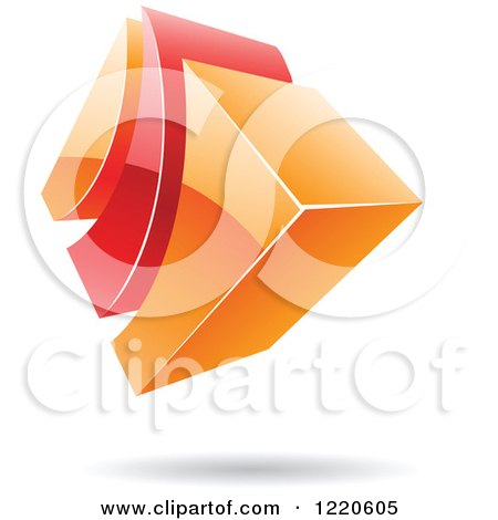 Clipart of a 3d Abstract Red and Orange Logo 2 - Royalty Free Vector Illustration by cidepix
