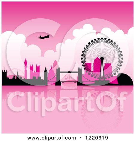 Clipart of a Silhouetted Airplane over London with Pink Skies - Royalty Free Vector Illustration by cidepix