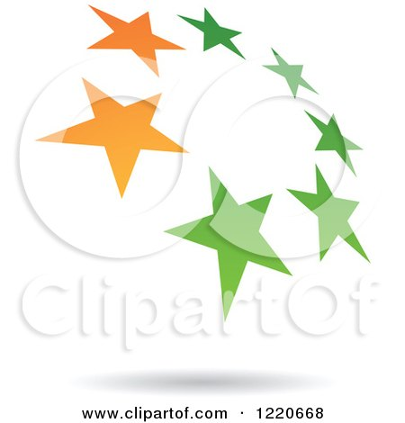 Clipart of a Floating Green and Orange Star Circle Icon - Royalty Free Vector Illustration by cidepix